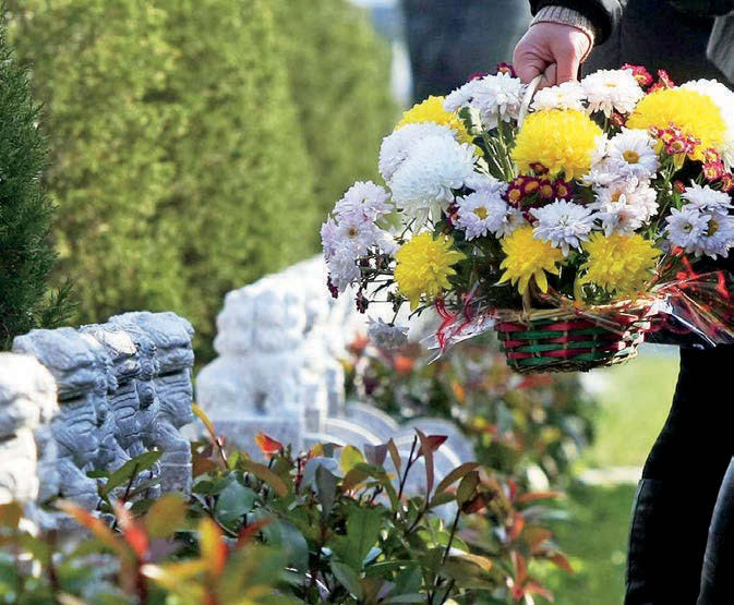 Chrysanthemums symbolize love and respect--tokens of the living's remembrance of the dead.