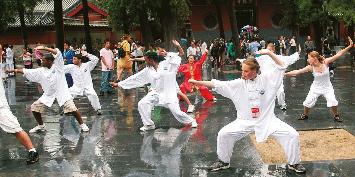 "Students at ""Chinese Bridge"" Summer Camp learning Kungfu at Shaolin Temple."