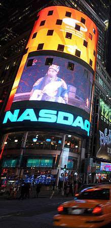 "Peking Opera ""Chibi"" being broadcast at Times Square, New York city,U.S. (Photo by Xinhua)"