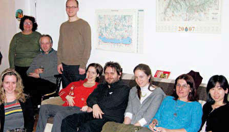 The author (first on the right) is with her Hungarian Students.